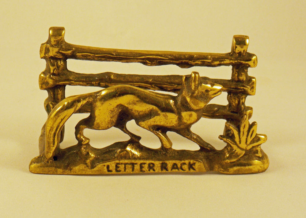 Brass Fox letter rack